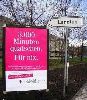 T-Mobile Werbung am Landtag