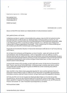 2. November 2011: Leserbrief ans Darmstädter Echo
